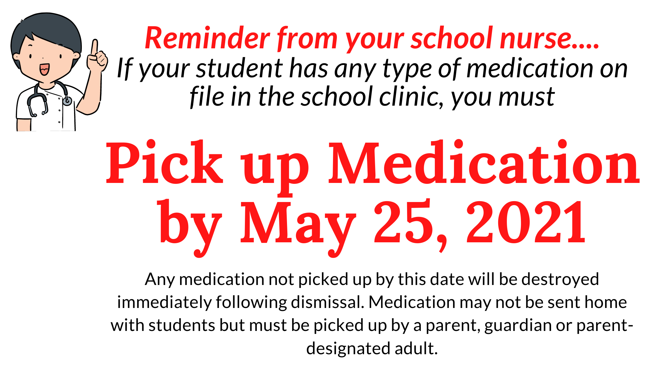 Reminder from your school nurse